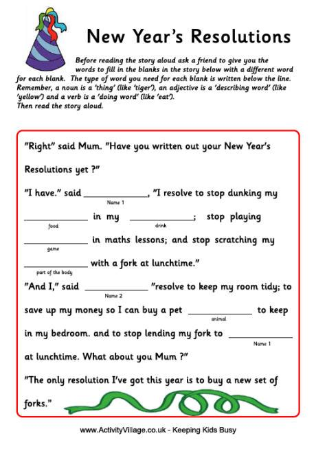 new year story fill in the blank story new year resolutions for