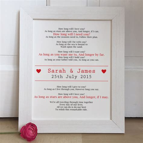 Wedding Songs Uk by Personalised Wedding Song Lyrics Wedding Gift
