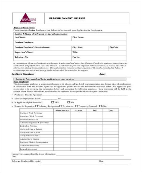 employment release form template sle employment release forms 9 free documents in pdf