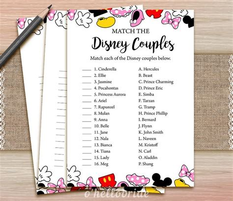 Wedding Shower Song List by Disney Couples Match Printable Bridal Shower