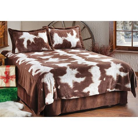 Fleece Bed Sets Plush Quot Cowskin Quot Fleece Coverlet Bedding Set 191850