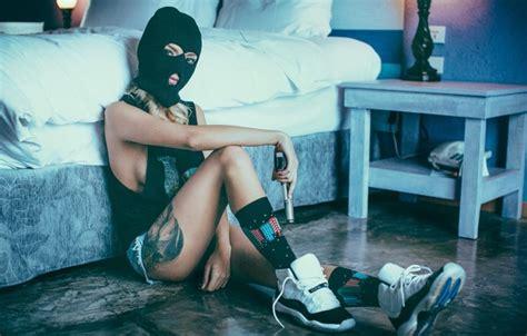 beautiful landscapes gangster girl wallpaper 30638712 wallpaper girl shorts girl gun mask swag sneakers
