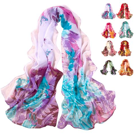 unique factory unique factory sellng chiffon scarf peony printing