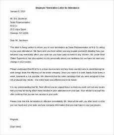 Evaluation Termination Letter Sle Warning Letter To Employee For Poor Attendance