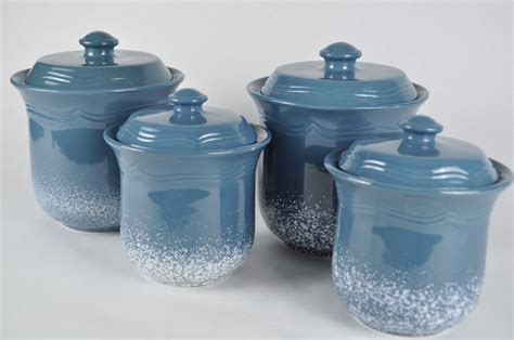 Beautiful Blue Kitchen Canister Sets Orchidlagoon Com