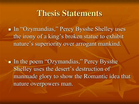 Shelley When The L Is Shattered by Ppt Ozymandias Analysis Powerpoint Presentation Id 758487