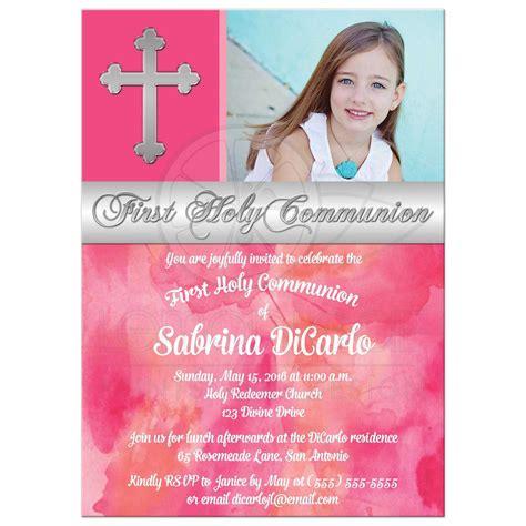 Photo Invitations by Holy Communion Invitation Photo Pink