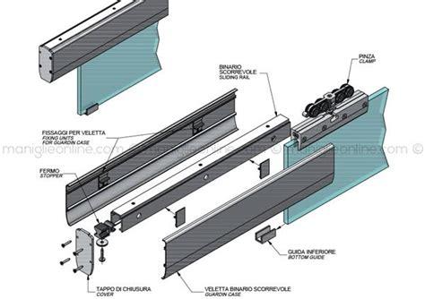 ante scorrevoli a soffitto sistema scorrevole per vetro con veletta fissaggio a soffitto