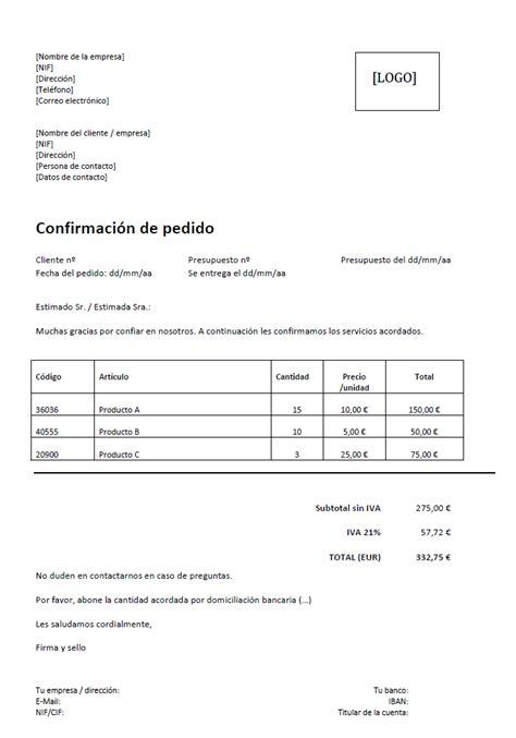 carta de consulta que es confirmaci 243 n de pedido modelo para excel y word 1 1