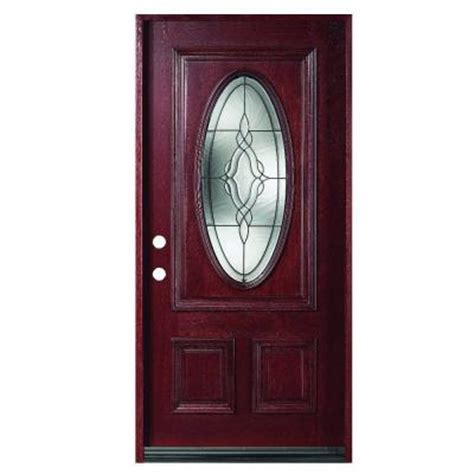Oval Glass Front Entry Door 36 In X 80 In Solid Mahogany Type Prefinished Antique