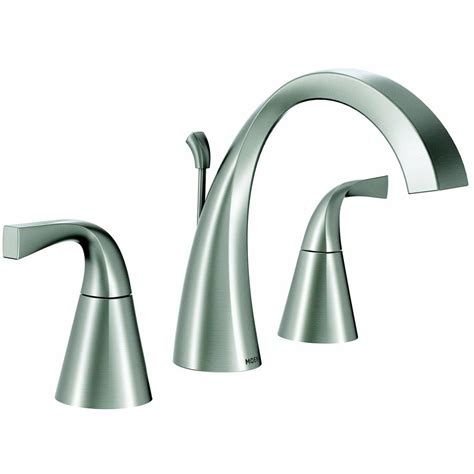 brushed nickel bathroom sink faucet moen oxby brushed nickel 2 handle widespread watersense