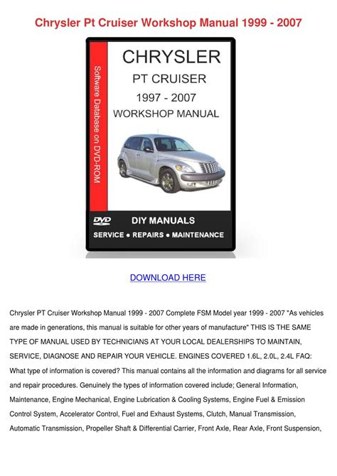 chrysler pt cruiser workshop manual 1999 2007 by geoffreyelias issuu