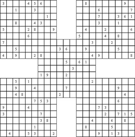 printable sudoku 5 in 1 samurai sudoku puzzle a 5 in 1 sudoku puzzle known as a