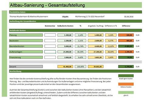 Sanierungskosten Altbau Rechner by Altbausanierung Excelberechnung Jetzt Zum Sofort