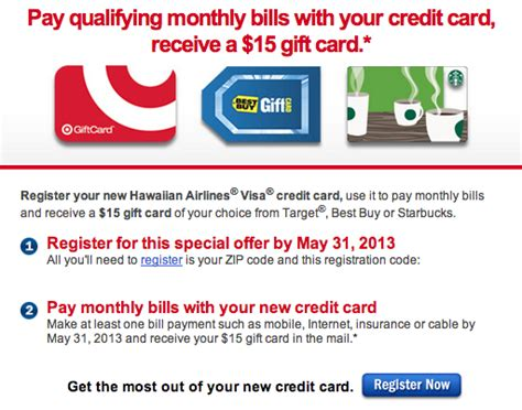 15 Visa Gift Card - 15 bestbuy starbucks or target gift card with hawaiian airlines visa point me to