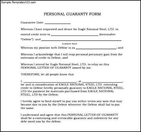 Credit Application Template With Personal Guarantee Personal Guarantee Form Personal Guarantee Form Exle Personal Guarantee Form Exle