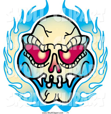 vector clip art of a red eyed evil skull and flames tattoo
