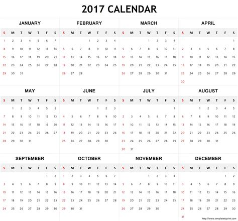 2017 Calendar Template Printable Free Holidays Calendar 2017 Pdf Calendar 2017 Template Pdf