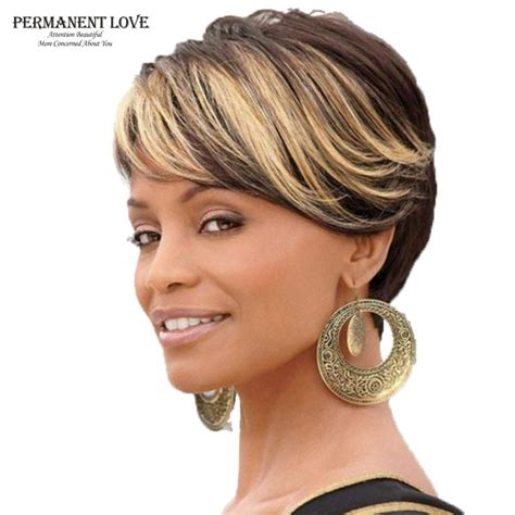 short african american hair with highlight ombre short wigs for black women black rooted side bangs