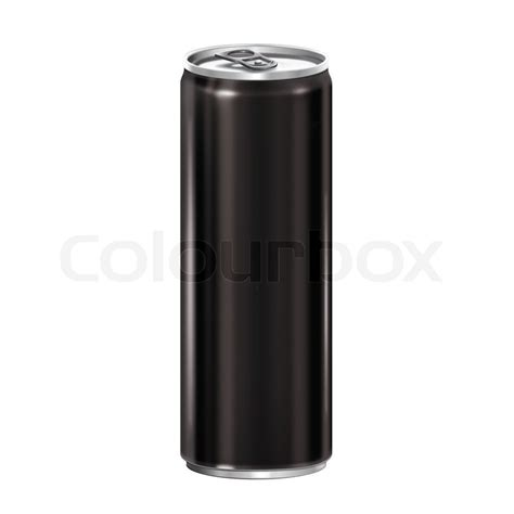energy drink template can black isolated on white background stock photo