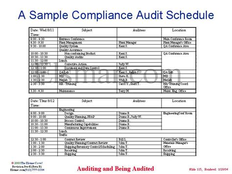 audit schedule template iso 9001 a sle compliance audit schedule