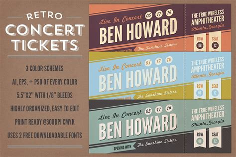 concert ticket business card template retro concert tickets stationery templates creative market
