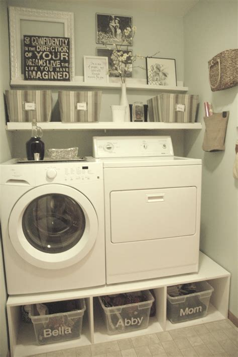 Storage For Small Laundry Room Small Spaces After Makeover Laundry Room Design With Diy Wood Pedestal Front Loading