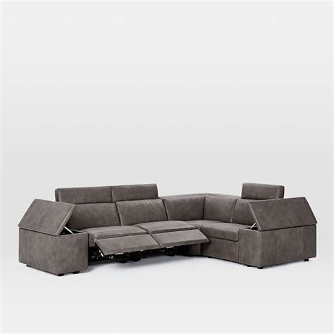 enzo sofa west elm enzo leather reclining 4 seater sectional west elm