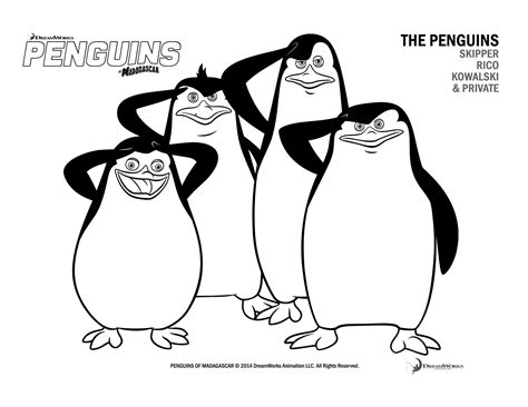free penguins of madagascar coloring pages and activity