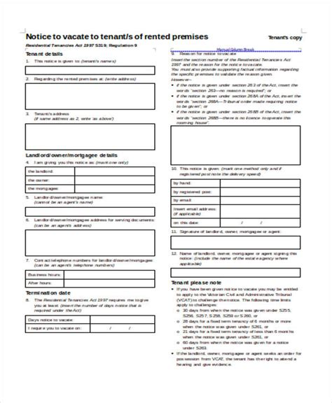 Lease Notice Period Nsw 28 Notice Forms In Word