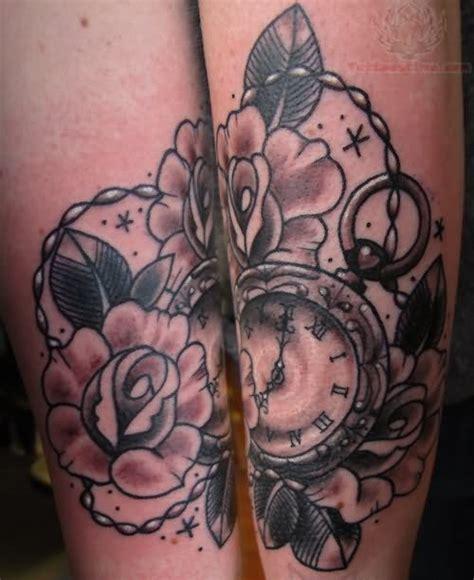 tattoo flower clock grey ink flower and clock tattoo