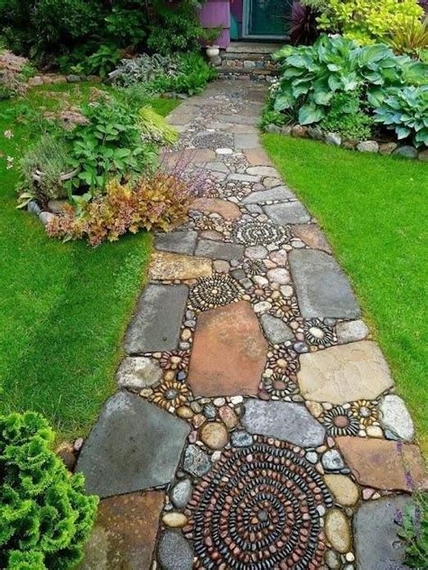 rock pathway ideas field stone and river rock walkway beyond the garden