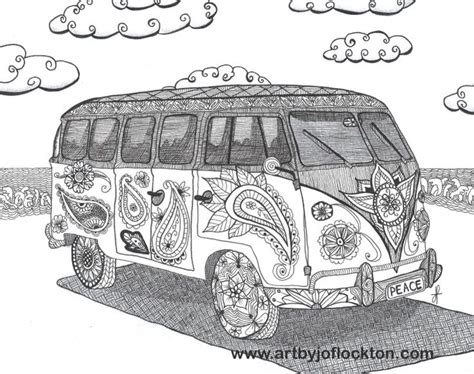 hippie vw bus adult colouring zentangles adult