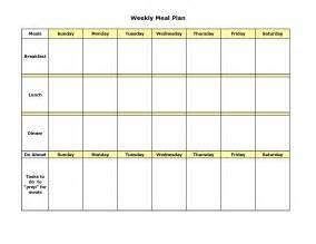 menu chart template template for meal planning organizational