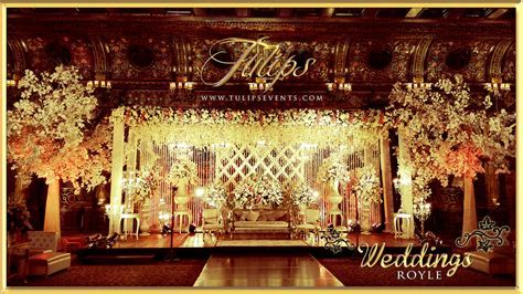 Royal Gold Pakistani Wedding Stage Decoration and