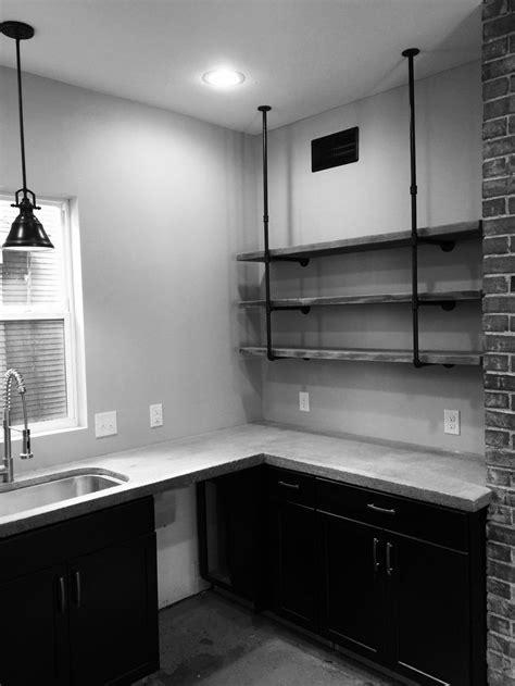 Black Kitchen Ideas Industrial Kitchen Concrete Counters Exposed Brick