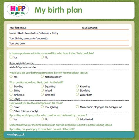 Planned C Section Birth Plan Template by Birth Plan Resume Template Sle