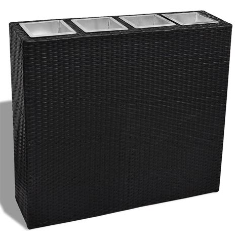 Vidaxl Co Uk Garden Rectangle Rattan Planter Set Black Black Rectangular Planter