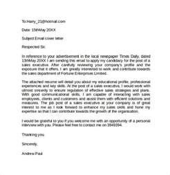 Email Cover Letter Templates by Email Cover Letter Exle 10 Free Documents