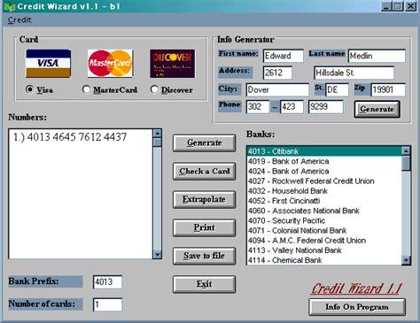 Credit Card Template Generator by Visa Card Number Generator