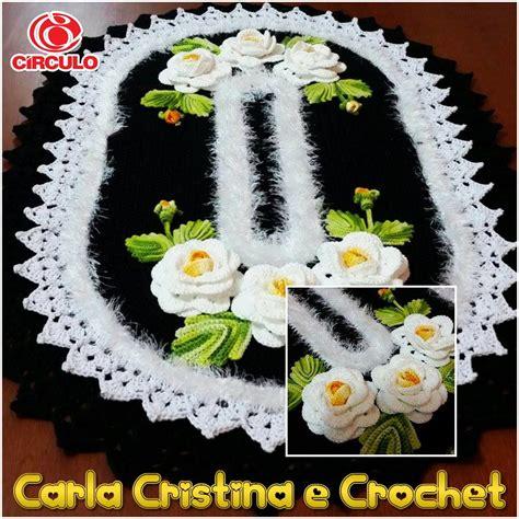 croche oval bico duplo tapete com flores jogo de banheiro croche oval tapete oval bico duplo no elo7 carla cristina e crochet