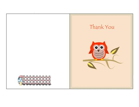 thank you card template print out free printable owl baby shower thank you cards
