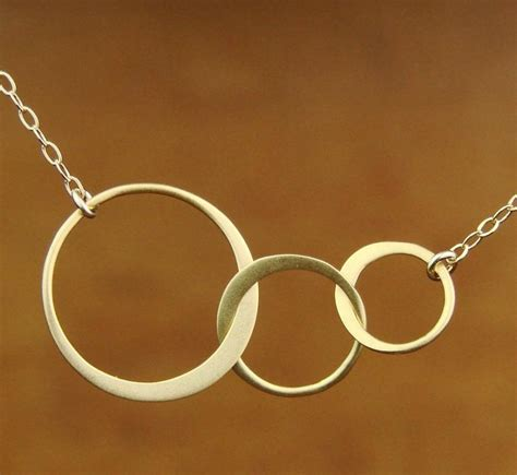 Circle Necklace three circle necklace gold circle necklace interlocking