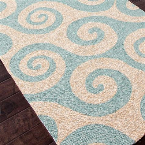 Teal Outdoor Rug Whimsical Waves In Teal Or Light Blue Durable Because Indoor Outdoor Rug