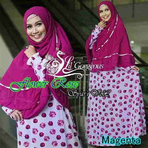 Baju Muslim Gamis Wanita Maxroses flower 2 magenta baju muslim gamis modern