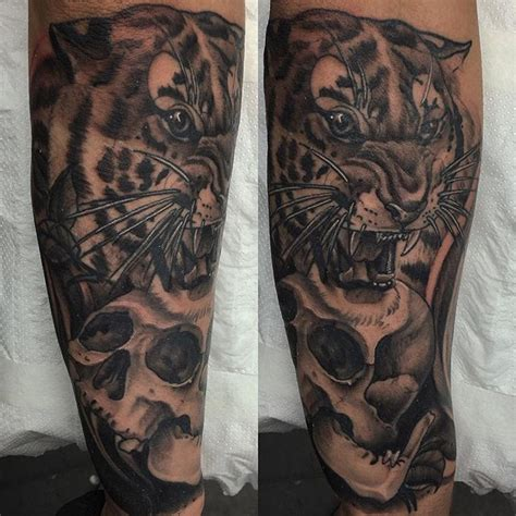 thank you tattoos designs neo traditional tiger and skull on the forearm thanks