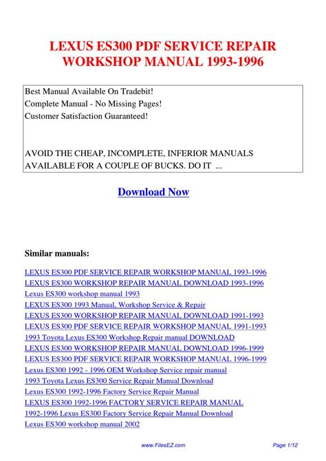 service and repair manuals 1993 lexus es transmission control lexus es300 service repair workshop manual 1993 1996 by yang rong issuu