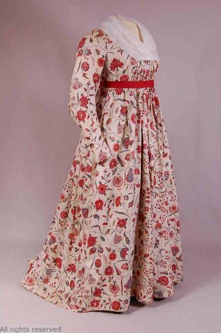Dress T13 mode museum antwerp t13 584 j153 data 1790 1800 fashion history chintz fabric