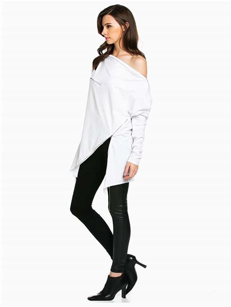 My Asymetris White white asymmetrical sleeve top modishonline