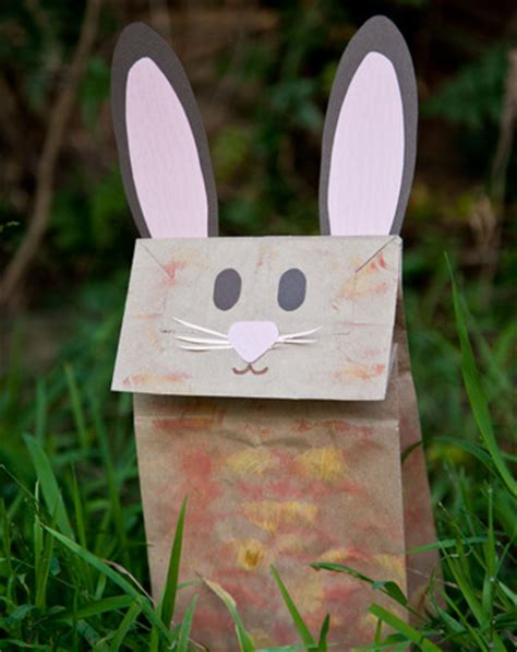 Paper Bag Bunny Craft - make a bunny paper bag puppet activity education